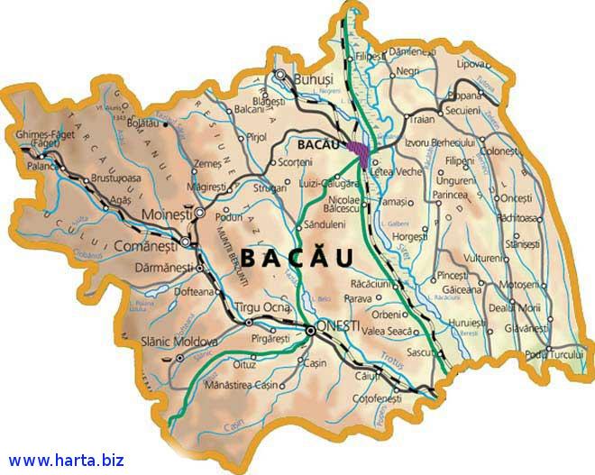 Harta judetului Bacau