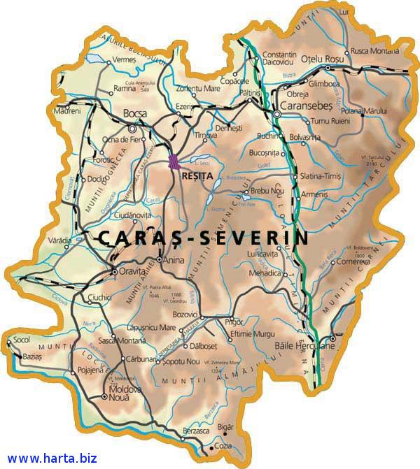 Harta judetului Caras-Severin