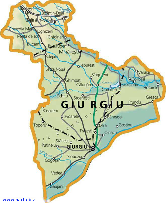 Harta judetului Giurgiu