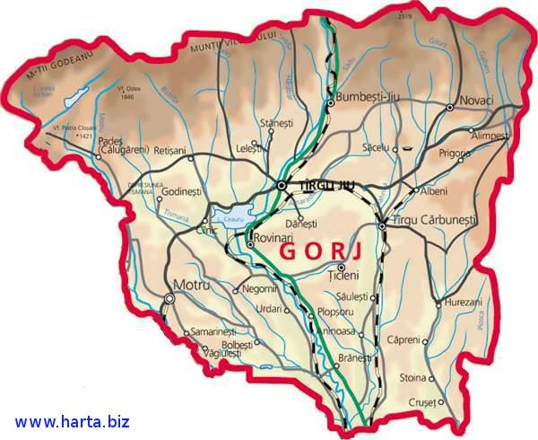 Harta judetului Gorj