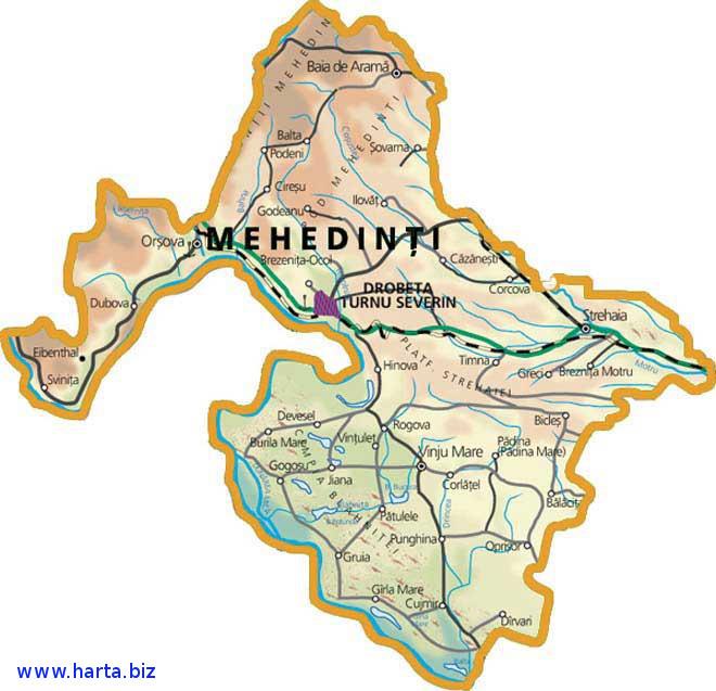 Harta judetului Mehedinti