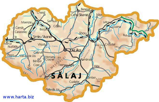 Harta judetului Salaj