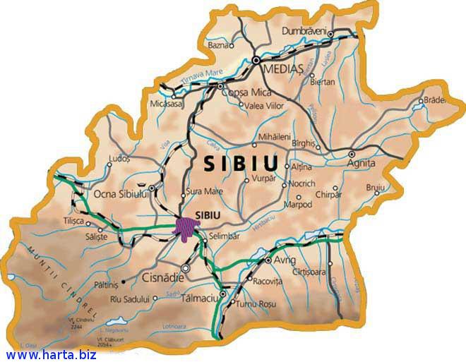 Harta judetului Sibiu
