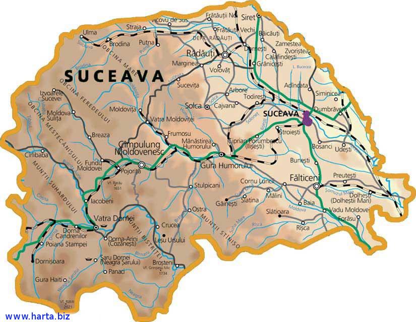 Harta judetului Suceava
