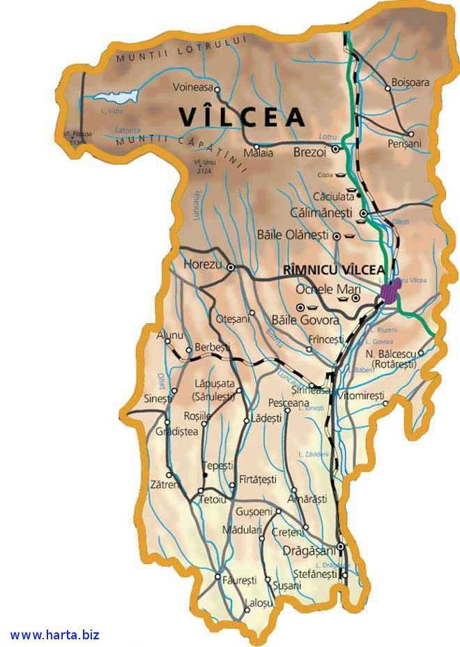 Harta judetului Valcea