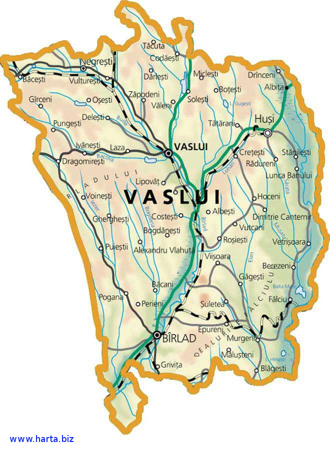 Harta judetului Vaslui